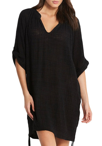 Black Roll-Up Sleeves Drawstring Sides Beach Cover-Up