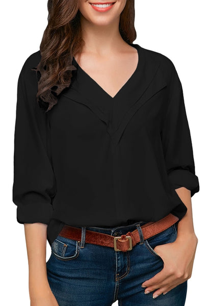 Front view of model wearing black roll sleeves lapel collar V-neck chiffon top