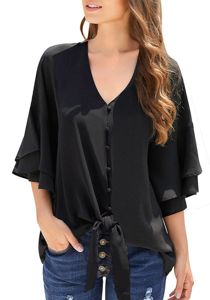 Black Ruffle Half Sleeves Button-Up Tie-Front Loose Top