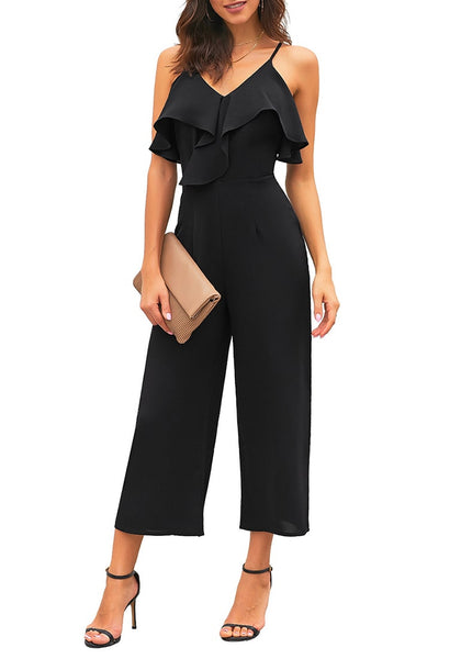 Front view of model wearing black ruffled spaghetti-strap surplice jumpsuit