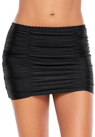 Black Scallop Ruched Skirted Swim Bottom