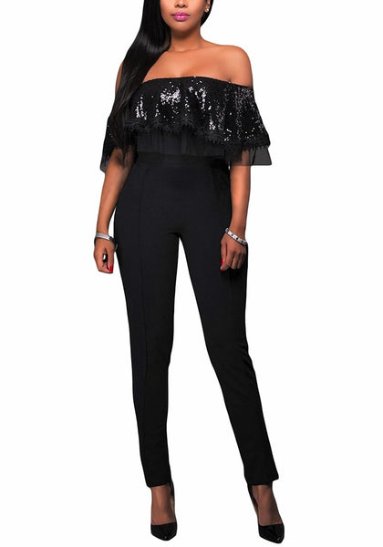 Front view of model wearing black sequin ruffled off-shoulder jumpsuit