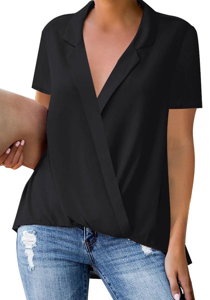 Front view of model wearing black short sleeve lapel collar surplice top