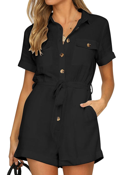 Front view of model wearing black short sleeves button-down belted rompers