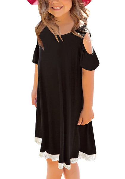 Front view of model wearing black short sleeves cold-shoulder crochet lace girl dress