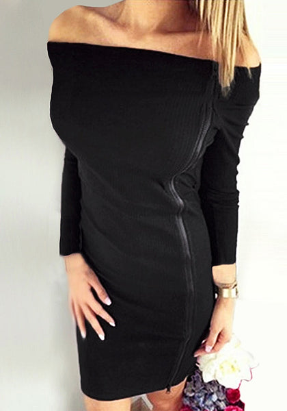 Front view of model wearing black side-zip long sleeves off-shoulder dress