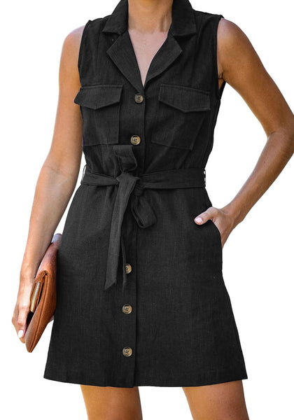 Front view of model wearing black sleeveless lapel collar button-down belted dress