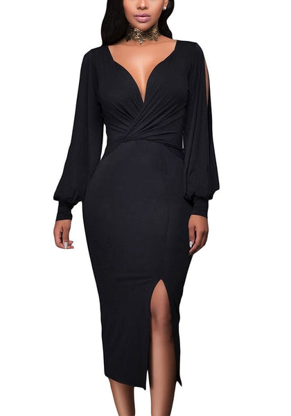 Front view of model wearing black split sleeve ruched midi dress
