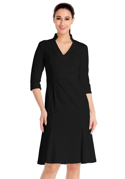 Front view of model wearing black stand collar crop sleeves dress