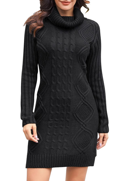Front view of model wearing black turtleneck cable knit side slit pullover sweater dress