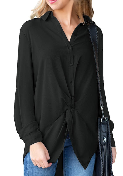 Front view of model wearing black twist knot-front button-up chiffon blouse