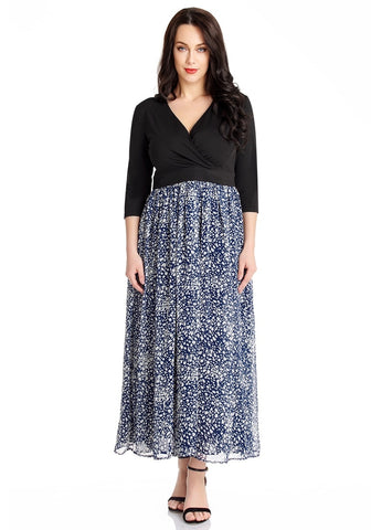 Blue Abstract Dot Chiffon Surplice Maxi Dress
