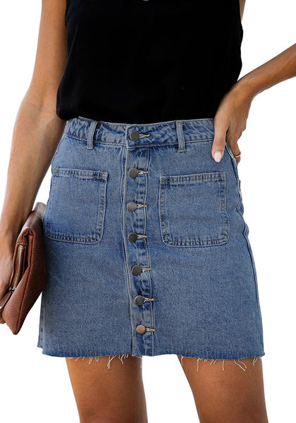Front view of model wearing blue button-down denim mini skirt