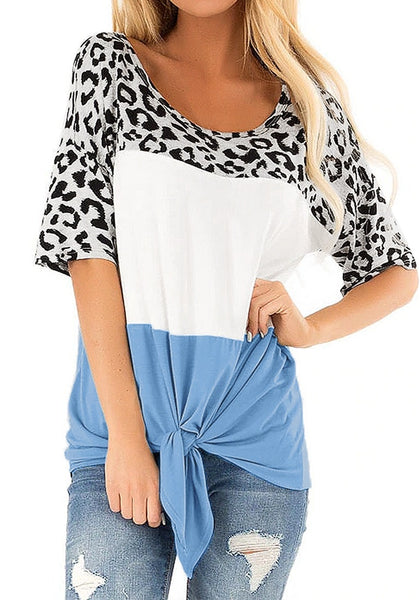 Blue Colorblock Leopard Loose Tie-Front Top
