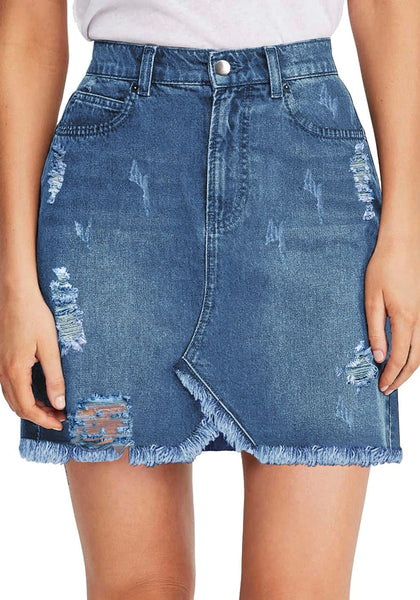 Front view of model wearing blue frayed hem distressed mini denim skirt