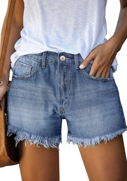 Front view of model wearing blue frayed hem washed denim jeans shorts