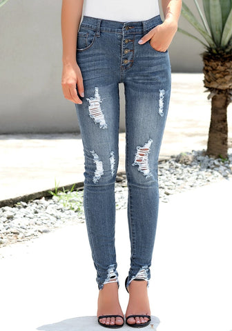 Blue High-Rise Ripped Buttoned Denim Jeans