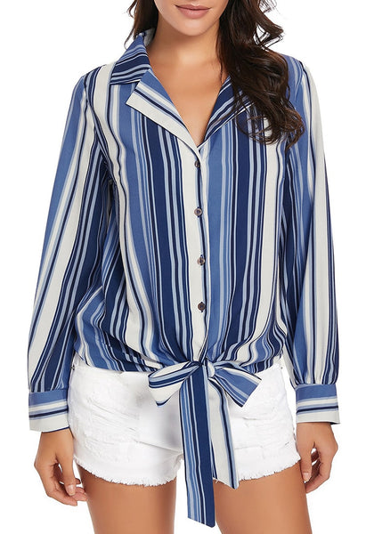Front view of model wearing blue long sleeves tie front striped button-up top