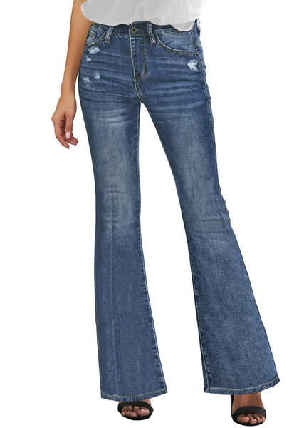 Blue Mid-Waist Flared Ripped Denim Jeans