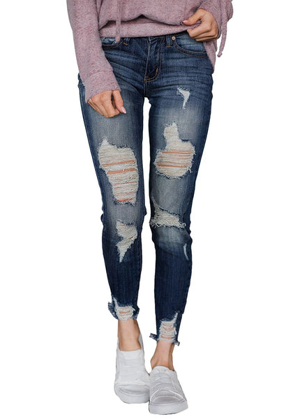 Blue Raw Hem Distressed Cropped Skinny Jeans
