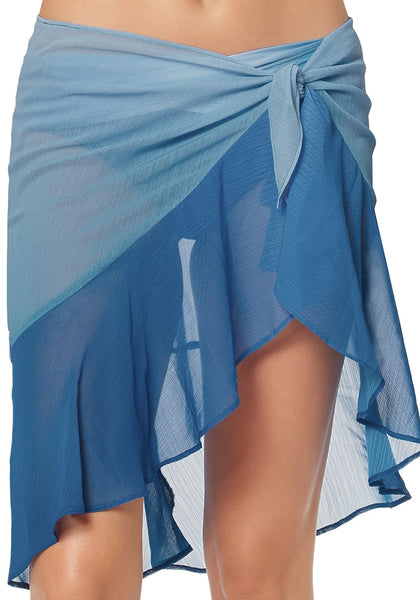 Front view of model wearing blue side-tie ruffle sheer sarong cover up