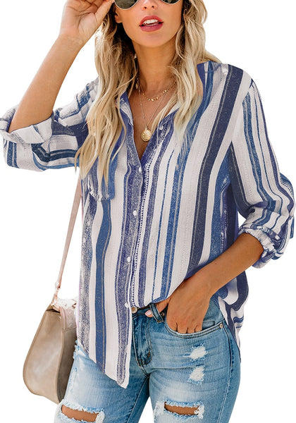 Front view of model wearing blue striped cuffed sleeves button-up top