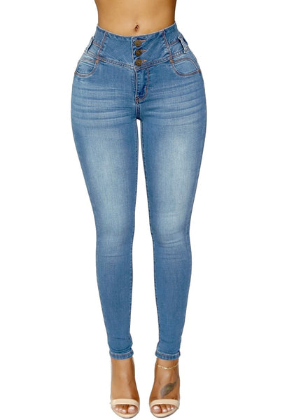 Front view of model wearing blue triple button washed high waist skinny jeans