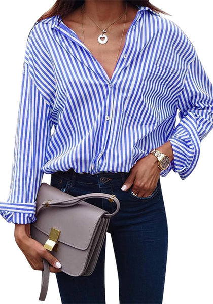 Front view of model wearing blue vertical striped long sleeves button-up top