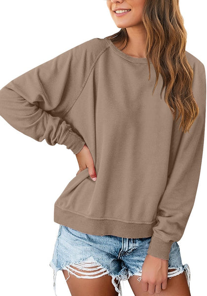 Front view of model wearing brown french terry crewneck pullover sweatshirt