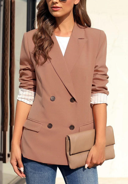 Brown Notch Lapel Striped Lining Double-Breasted Blazer
