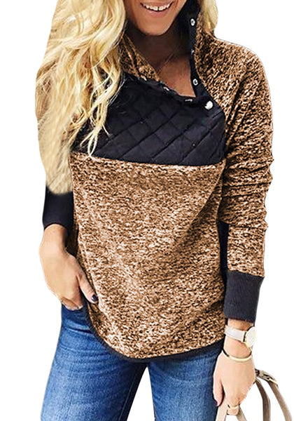 Front view of model wearing brown oblique button neck splice quilted fleece pullover