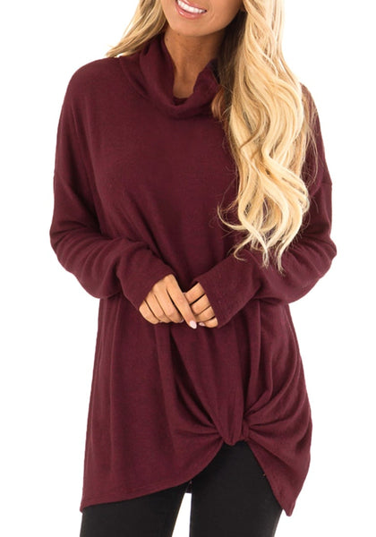 Front view of model wearing burgundy cowl neck side twist knot tunic top