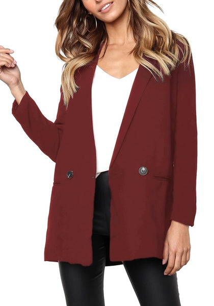 Front view of model wearing burgundy mock-pocket double-breasted lapel blazer