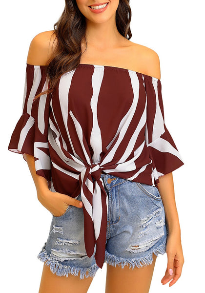 Front view of model wearing burgundy striped flare sleeves tie-front off-shoulder top
