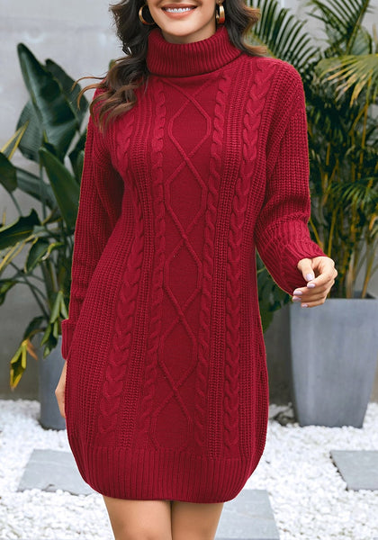 Front view of model wearing burgundy turtleneck cable knit pullover sweater dress