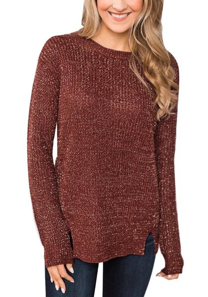 Front view of model wearing burgundy velvet knit side-slit pullover sweater