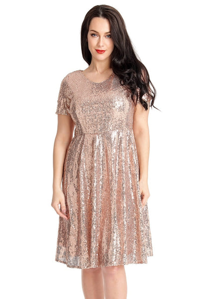 Front view of model wearing champagne sequined short sleeves skater dress