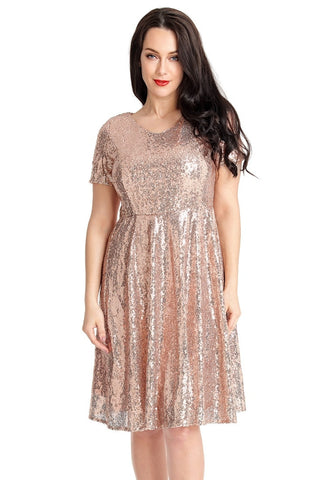 Champagne Sequined Short Sleeves Skater Dress