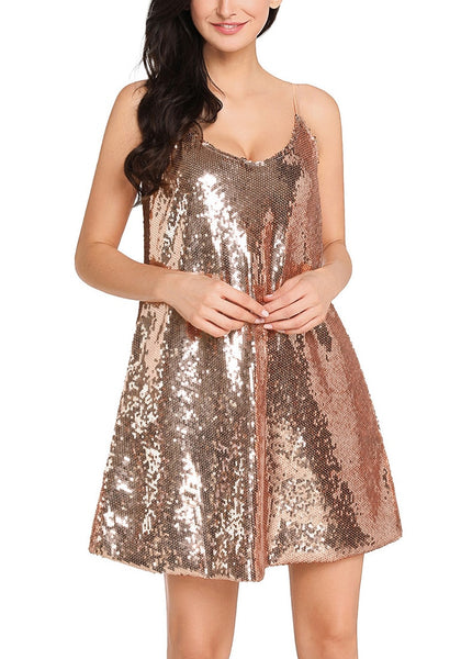 Front view of model wearing champagne sequins slip dress