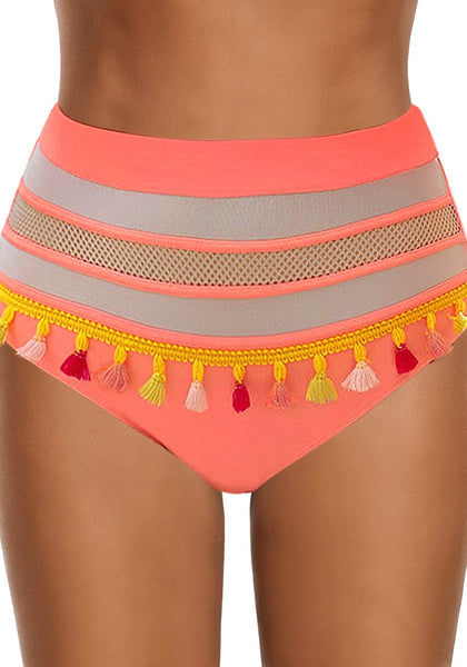 Front view of model wearing coral fishnet panel tassel high-waist bikini bottom