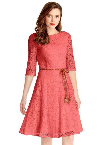 Front view of model wearing coral lace crop sleeves A-line dress