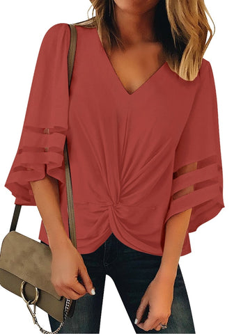 Dark Coral Pink 3/4 Bell Mesh Panel Sleeves V-Neckline Front Twist Knot Loose Top