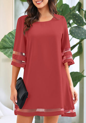 Coral Pink 3/4 Bell Sleeves Mesh Panel Crew Neckline Loose Dress