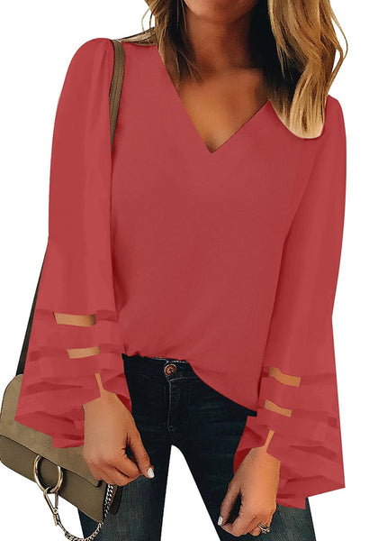 Front view of model wearing coral pink long bell mesh panel sleeves V-neckline loose top