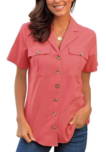 Front view of model wearing coral pink short sleeves lapel button-up blouse