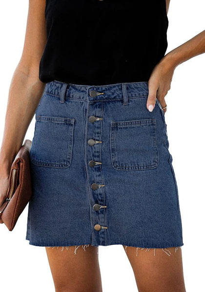 Front view of model wearing dark blue button-down denim mini skirt