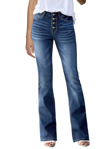 Front view of model wearing dark blue high-rise buttons flared denim jeans
