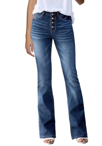 Dark Blue High-Rise Buttons Flared Denim Jeans