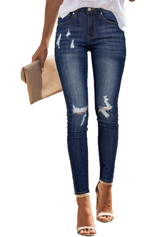 Dark Blue Mid-Rise Ripped Denim Skinny Jeans