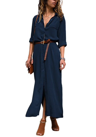 Dark Blue Side Slit Long Button-Up Shirt Dress